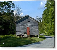 Red Door Of The One Room School House Acrylic Print by Douglas Barnett