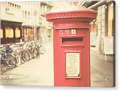 Red English Post Box In Lucerne, Switzerland Acrylic Print by Copyright Laura Evans. All Rights Reserved.