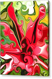 Red Fantasy Lily Acrylic Print by Renate Nadi Wesley
