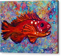 Red Fish Acrylic Print by Paintings by Gretzky