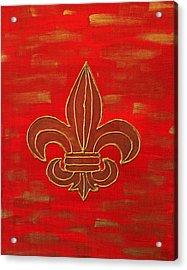 Red Fleur De Lis Acrylic Print