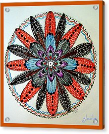 Red Flower Mandala  Acrylic Print by Gladys Childers