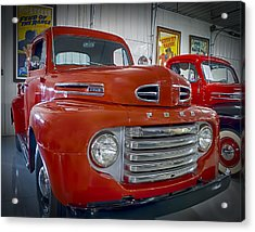 Red Ford Pickup Acrylic Print by Steve Benefiel