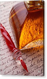 Red Glass Pen  Acrylic Print by Garry Gay