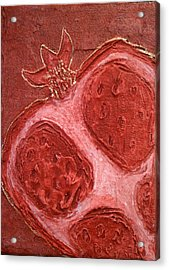 Acrylic Print featuring the painting Red Gold Juicy Thick Textured Cut Pomegranate With Seeds by M Zimmerman