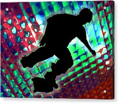 Red Green And Blue Abstract Boxes Skateboarder Acrylic Print by Elaine Plesser