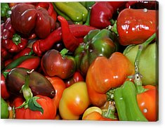 Red Green Orange And Yellow Peppers Acrylic Print by Diane Lent