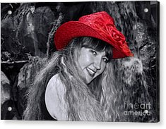 Red Hat And A Blonde Black And White Acrylic Print by Mariola Bitner