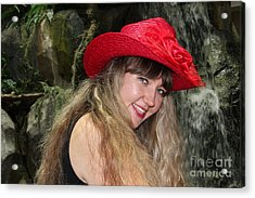 Red Hat And A Blonde Acrylic Print by Mariola Bitner