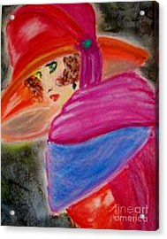 Acrylic Print featuring the painting Red Hat by Lori  Lovetere