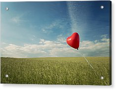 Red Heart Balloon, Blue Sky And Fields Acrylic Print by Image by Debbie Margetts - Ancora Imparo