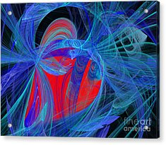 Red Heart Blue Lace Acrylic Print by Andee Design