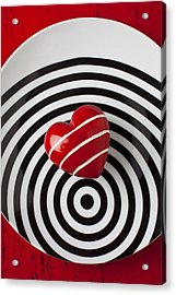 Red Heart On Circle Plate Acrylic Print by Garry Gay