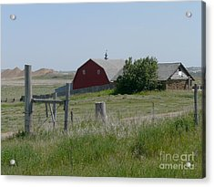 Red Hiproof Barn In Nd Acrylic Print by Bobbylee Farrier
