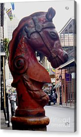 Acrylic Print featuring the photograph Red Horse Head Post by Alys Caviness-Gober