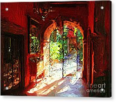 Acrylic Print featuring the digital art Red Hotel Lobby by John  Kolenberg