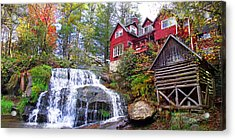 Red House By The Waterfall 2 Acrylic Print