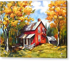 Red House In Autumn Acrylic Print by Diane Daigle