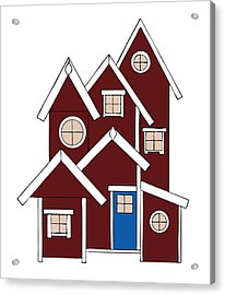 Red Houses Acrylic Print by Frank Tschakert
