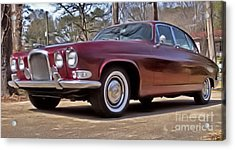 Acrylic Print featuring the photograph Red Jaguar 1966 by Elizabeth Coats