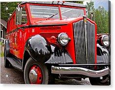 Red Jammer Tour Bus Glacier National Park Acrylic Print by Karon Melillo DeVega