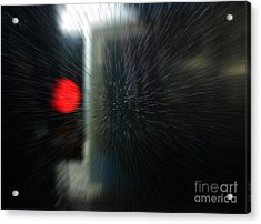 Acrylic Print featuring the photograph Red Light In The Car Wash Blurred by Nareeta Martin