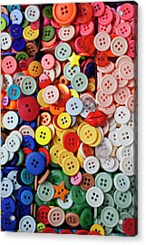 Red Lips Button Acrylic Print by Garry Gay