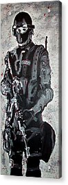 Red Marble Full Length Figure Portrait Of Swat Team Leader Alpha Chicago Police Full Uniform War Gun Acrylic Print by M Zimmerman MendyZ