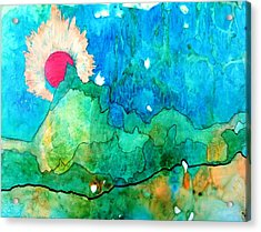Red Moon Three Acrylic Print by David Raderstorf