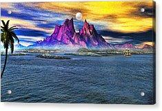 Red Mountain Island Acrylic Print