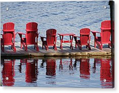 Red Muskoka Chairs Acrylic Print by Carolyn Reinhart