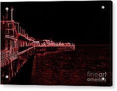 Acrylic Print featuring the photograph Red Neon Wharf by Garnett  Jaeger