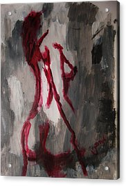Red Nude Young Female Girl In Shades Of Melting Grey Contemporary Modern Painting Acrylic Print