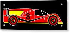 Red Number 8 Racing Car Virtual Car Acrylic Print by Asbjorn Lonvig