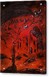 Acrylic Print featuring the painting Red Orange Yellow Sunset With Bird Nest Castle And Tree Silhouette by M Zimmerman