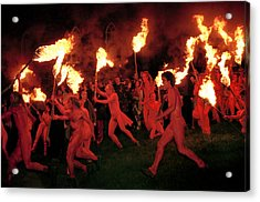 Red-painted Revelers Acrylic Print by Jim Richardson