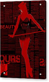 Red Paper Dance Acrylic Print by Naxart Studio