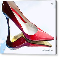 Red Patent Stilettos Acrylic Print by Paulette B Wright