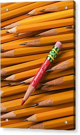 Red Pencil With Yellow Ones Acrylic Print by Garry Gay