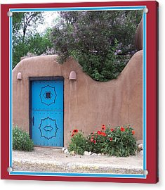 Acrylic Print featuring the photograph Red Poppies Blue Door by Susan Alvaro
