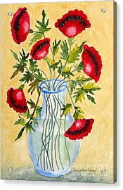 Red Poppies In A Vase Acrylic Print by Kimberlee Weisker