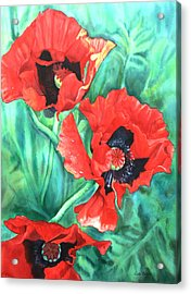 Red Poppies Acrylic Print by Leslie Redhead