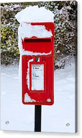 Red Postbox In The Snow Acrylic Print
