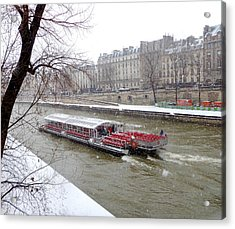 Red Riverboat On The Seine Acrylic Print