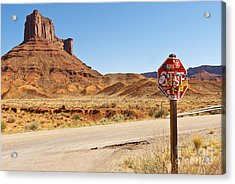 Red Rock Stop Acrylic Print by Bob and Nancy Kendrick