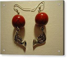 Red Rocker French Horn Earrings Acrylic Print by Jenna Green