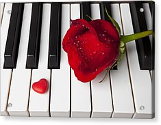 Red Rose And Candy Heart Acrylic Print by Garry Gay
