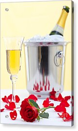 Red Rose And Champagne Acrylic Print by Richard Thomas