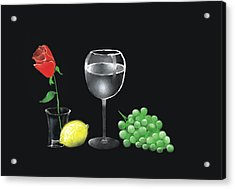 Acrylic Print featuring the painting Red Rose And Grapes by Larry Cirigliano