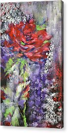 Acrylic Print featuring the painting Red Rose In Winter by Kathleen Pio